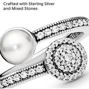 Pandora Luminous Glow Crystal Pearl ring 6 nwot
